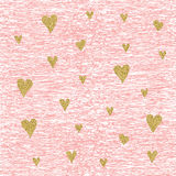 Vector Gold glittering heart seamless pattern Stock Images