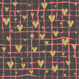 Vector Gold glittering heart seamless pattern Royalty Free Stock Images