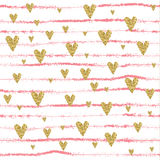Vector Gold glittering heart seamless pattern stock illustration