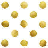 Vector gold glittering polka dot stains pattern Royalty Free Stock Photo