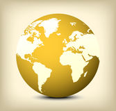 Vector gold globe icon on yellow background Stock Image