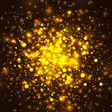 Vector gold glowing light glitter background. Christmas magic lights background. Vector gold glowing light glitter background. Christmas golden magic lights Stock Photography