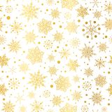 Vector gold glowing snowflakes seamless repeat pattern background. Great for winter holiday fabric, giftwrap, packaging. Covers, invitations. Surface pattern Royalty Free Stock Photo