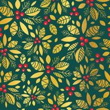 Vector gold and green holly berry holiday seamless pattern background. Great for winter themed packaging, giftwrap. Gifts projects. Surface pattern print Stock Photo