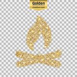 Vector gold icon. Gold glitter  icon of bonfire isolated on background. Art creative concept illustration for web, glow light confetti, bright sequins, sparkle Stock Photos
