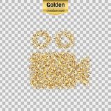 Vector gold icon. Gold glitter  icon of video camera isolated on background. Art creative concept illustration for web, glow light confetti, bright sequins Stock Photography