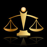 Justice scales on black background. Vector gold icon of justice scales on black background Stock Photography