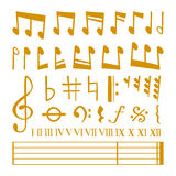 Vector gold icons set music note melody symbols vector illustration. Stock Photography