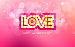 Vector gold inscription love with glowing lamps Royalty Free Stock Photography