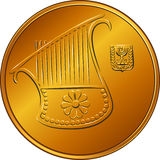 Vector Gold Israeli money half-shekel coin. Obverse Gold Israeli money half-shekel coin or fifty agorot with the image of a harp, coat of arms of Israel Royalty Free Stock Image