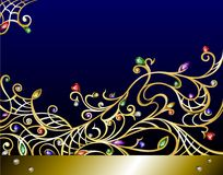 Vector horizontal gold jewerly background with gem Royalty Free Stock Images