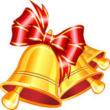 Vector gold jingle bells with red bow. Royalty Free Stock Image
