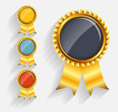 Vector Gold Label Set with Red Ribbon. This is file of EPS10 format Royalty Free Stock Image