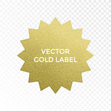 Vector gold label star multi point golden glitter texture vector isolated icon. Gold label multi point star with golden glitter texture. Vector isolated icon on Stock Images