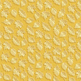 Vector Gold Leaves 3d Seamless Pattern Background. Wallpapers and Invitation cards decoration Stock Photos