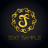 Vector a gold letter logo or label, icon for company. Use for identity, ad, alphabet Stock Image
