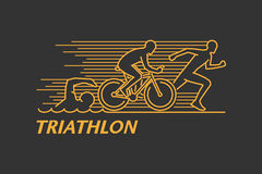 Vector gold line logo triathlon Stock Photos
