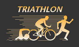 Vector gold line logo triathlon Royalty Free Stock Photography