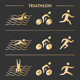 Vector gold line logo triathlon Royalty Free Stock Photos