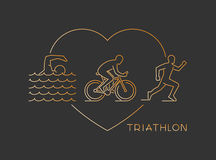 Vector gold line logo triathlon Stock Photography