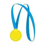 Vector gold medal. Gold medal with blue ribbon for first prize vector illustration. Medal of the winner isolated on white background vector illustration