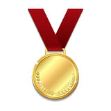 Vector gold medal on red ribbon. Vector gold medal on red ribbon with laurel wreath. Concept of an award for victory winning first placement achievement or Royalty Free Stock Images