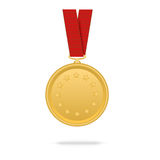 Vector gold medal on red tape. On  white background Stock Photo