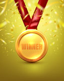 Vector of Gold medal with winner text on gold background Stock Image