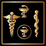 Vector Gold medical card icons symbol emblem. Vector Gold medical card icons, symbol, medical emblem elegant design. Great for invitations, greeting card stock illustration
