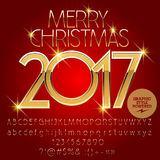 Vector gold Merry Christmas 2017 greeting card Stock Photography
