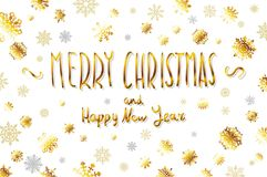 Vector gold Merry Christmas and happy new year Card. Golden Snowflakes and Stars Shiny Glitter. Calligraphy Greeting Poster Templa. Te. Isolated White Background Royalty Free Stock Photo