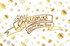 Vector gold Merry Christmas and happy new year Card. Golden Snowflakes and Stars Shiny Glitter. Calligraphy Greeting Poster Templa. Te. Isolated White Background Royalty Free Stock Photography