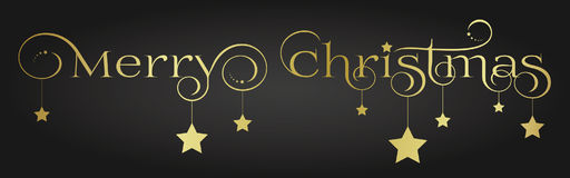 Vector Gold Merry Christmas Lettering Design with Stars Royalty Free Stock Photo