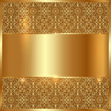 Vector gold metal plate with ethnic ornament backg Royalty Free Stock Image