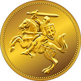 Vector gold money coin with of the charging knight. Gold money coin with depicting the equestrian knight with sword raised (Pahonia Royalty Free Stock Image