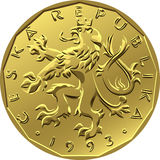 Vector gold Money twenty czech crones coin Stock Image