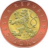 Vector gold Money fifty czech crones coin Stock Photos