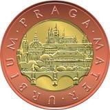 Vector gold Money fifty czech crones coin Royalty Free Stock Photos