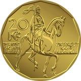 Vector gold Money twenty czech crones coin Royalty Free Stock Image