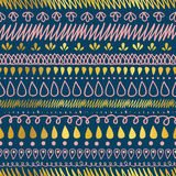 Vector Gold, Navy Blue, and Pink Decorative Ikat Stripes Abstract Seamless Repeat Pattern Background. Great for handmade Stock Photography