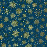 Vector gold and nay blue snowflakes seamless repeat pattern background. Great for winter holiday fabric, giftwrap. Packaging, covers, invitations. Surface Stock Photo