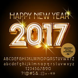 Vector gold neon Happy New Year 2017 greeting card Royalty Free Stock Photo