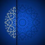 Vector gold oriental arabesque pattern background with place for. Text. Blue color