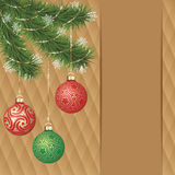 Vector gold ornament christmas balls on green pine branch. Gold diamond background greeting card Stock Image