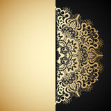 Vector gold ornament. Vector illustration with vintage gold ornament and place for text Stock Photos