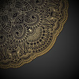 Vector gold ornament. Vector illustration with vintage gold ornament and place for text Royalty Free Stock Photography