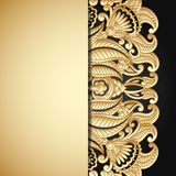 Vector gold ornament. Vintage gold floral ornament with place for text Stock Photos