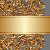 Vector gold ornament. Vintage gold floral ornament with place for text Stock Images