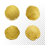 Vector gold paint circle smear stain texture set. vector illustration