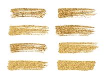 Vector gold paint smear stroke stain set. Abstract gold glitteri royalty free illustration